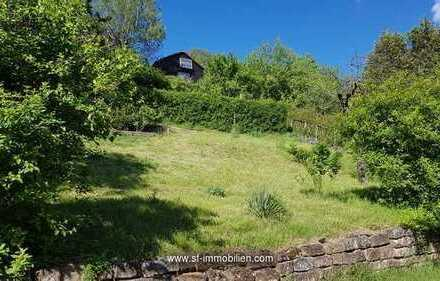 Gartengrundstück in Aussichtslage mit Holzhaus