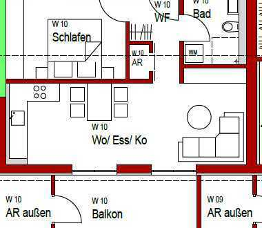 Zentrumsnahe 2-Zimmer-Wohnung mit großer Dachterrasse