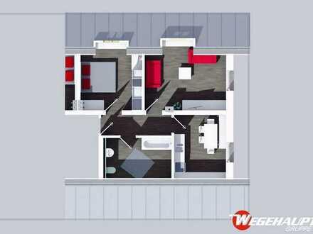 2-Raum Dachgeschosswohnung mit großer Küche!
