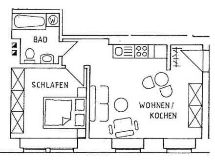 ++ 2-Raum-Wohnung mit Einbauküche und Wannenbad ++