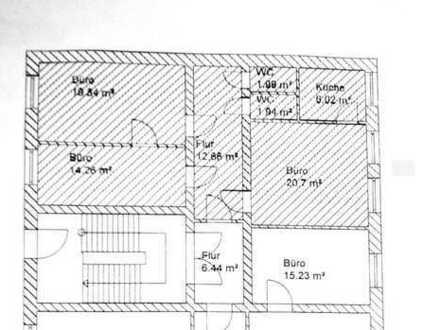 3-Raum-Büro_77m²_Bürofläche 54,30m²_Küche_WC