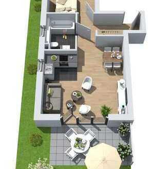 Neubau: 2-Zimmer-Wohnung mit Südterrasse und Gartenanteil