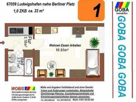Lu City ab 01.1.2019 o. später übersichtliche 1,0 ZKB 22 m²+EBK Wohn-/Arbeitsber. mit Weitblick