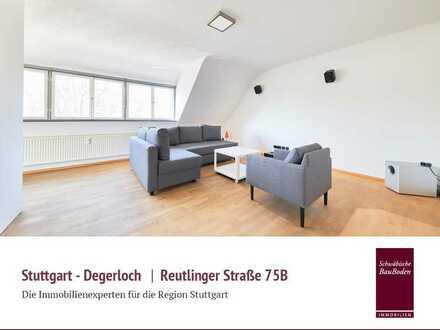 Degerloch | Besondere, helle 2 Zi. DG-Studiowhng, Balkon, Wohnküche, teiwl. möbliert, Parkett +++++