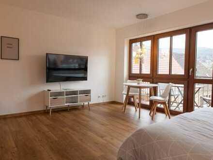 Innenstadt: Möblierte und sanierte 1-Zimmer-Wohnung mit Balkon und Einbauküche befristet mietbar