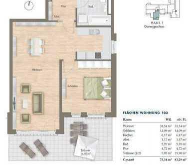 Erstbezug: Exklusive, 2-Zimmer Neubauwohnung mit moderner EBK, Terrasse und Garten