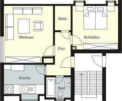gut geschnittene, helle 2 Zimmer DG Wohnung, begehbarer Kleiderschrank