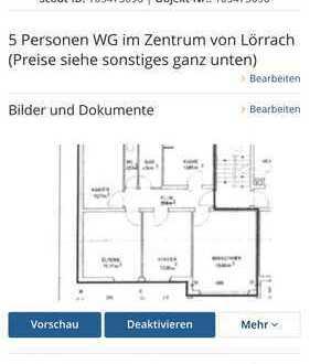 Wohngemeinschaft für 5 Personen im Zentrum von Lörrach (Preise siehe sonstiges ganz unten)