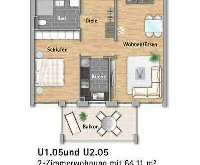 Moderne Zweizimmerwohnung am Kleinfeldpark