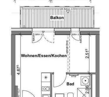 Neubau (April 2021): exklusive 1-Zimmer-Wohnung mit Balkon in Frankfurt am Main