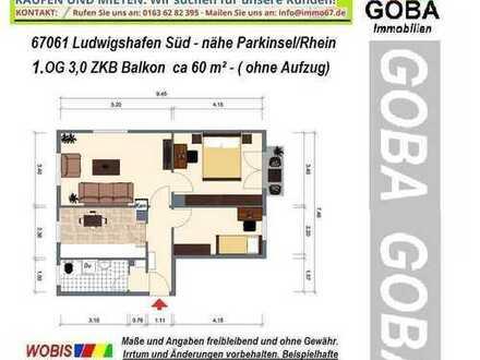 Nahe Rheinallee: 1.12.2019 o.früher/später/ helle 3,0 ZKB ca. 61 m² 4.OG ohne Aufzug - Südbalkon