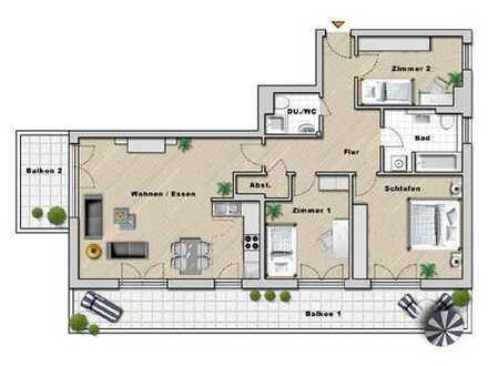 WRS Immobilien - ruhig und dennoch zentral im Europaviertel - 4 Zimmer-Wohnung mit 2 Balkonen und Ti