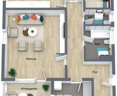 1 0 4 q m!!, 3- Zimmer Wohnung, Barrierefrei mit Fernsicht, mit Loggia, mit Aufzug und Einbauküche