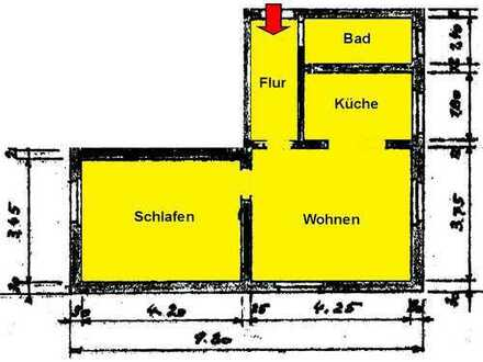 Schwelm-Martfeld: Gemütliche 2 Zi.-KDB mit Gartennutzung, ca. 45m²