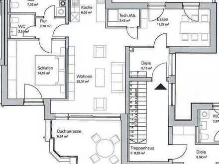 Lichtdurchflutete und ruhige 2,5-Zimmer-Dachterrassenwohnung und Westausrichtung in HADERN