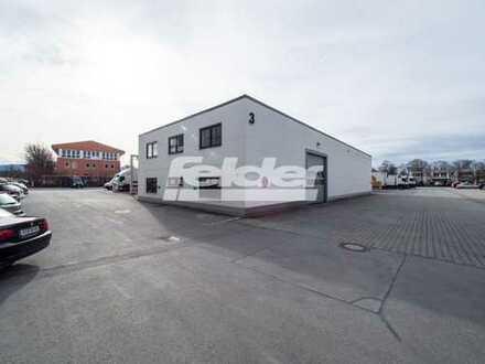 Für Fachgroßhandel, Logistik oder Maschinenbau, Halle mit Büro.