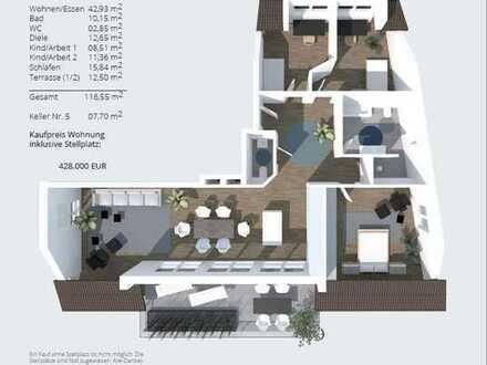 IM ALTER ZU HAUSE WOHNEN - helle, barrierefreie 4-Zi. Dachterrassenwohnung (2.OG) mit Carport