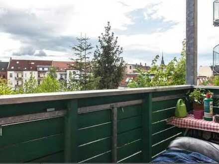 Möbliertes, helles 16qm-Zimmer mit Südblick in warmer, freundlicher 4er WG im kultigen Connewitz