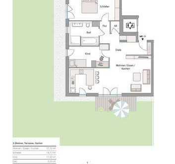 Neubau in Göggingen! - exkl. 3 Zi-Terrassen-Whg. mit großem Garten in sonniger Lage! zentrale Lage!