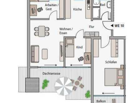 *ABENDSONNE GARANTIERT! Helle Dachgeschosswohnung mit großer Dachterrasse*