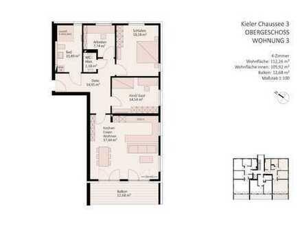 4-Zimmer-Wohnung im Zentrum Gettorfs mit offener oder optional geschlossener Küche