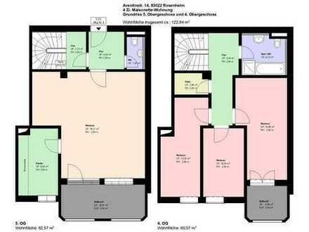 **Rosenheim **4 Zimmer Maisonette-Wohnung**möbliert**Küche mit EBK**2 Balkone**Parkett**