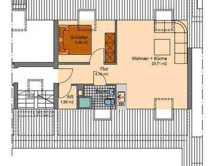 Helle und geräumige 2 Zi. Wohnung im Dachgeschoss