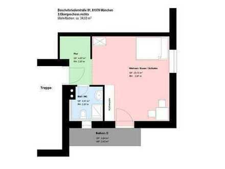 *Obersendling*1-Zimmer-Apartment*möbliert*Balkon*Parkett*