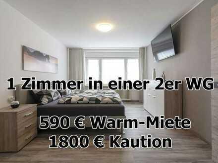 ab sofort - WG Zimmer in Pforzheim Zentrum in möbelierter 2er WG - 400 Meter vom HBF Pforzheim