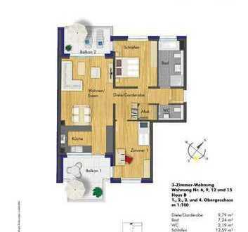 große 3 Zimmerwohnung im 1. Obergeschoss (B6)