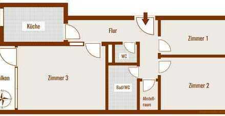 3-Zimmer, 91,5 m² Wfl. renoviert, abschliessbarer TG-Stellplatz, BEZUGSFREI