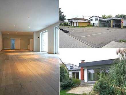 Arbeiten und Wohnen: 3 Einfamilienhäuser + Schwimmbad + Lagerhallen + Büro