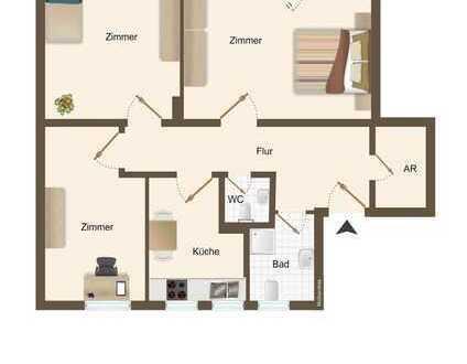 Inkl. 400 € - Gutschein - 3-Zimmer-Etagenwohnung mit Balkon!