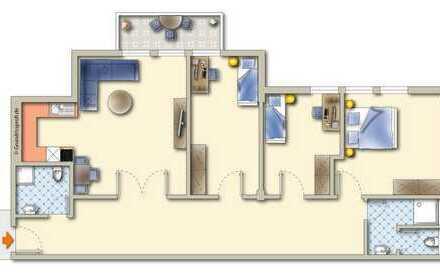 Große vermietete Wohnung mit Balkon, Aufzug und Tiefgarage