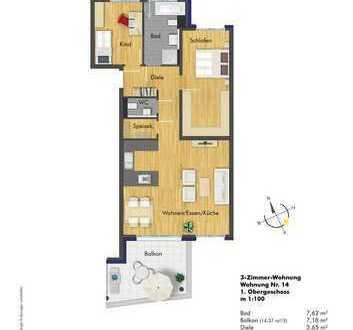 Helle 3- Zimmer Wohnung im 1. OG ( Haus 2, Whg. 14 )