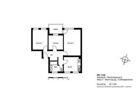 2,5-Zim.-Whg. mit Loggia, Tageslichtbad und geräumiger Küche in AUDI-Nähe