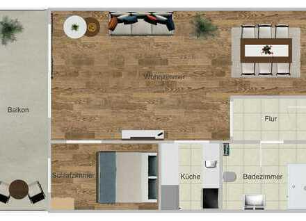 Stilvolle vollmöblierte 2-Zimmer-Wohnung mit Einbauküche und Balkon in Frankfurt