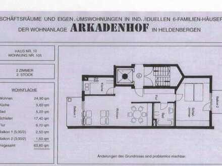 Gepflegte 2-Zimmer-Wohnung mit 2 Balkonen in Nidderau