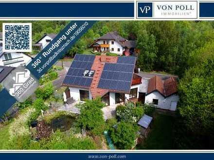 WEBERHAUS | WOHNEN IM GRÜNEN | GARTENTEICH | EINBAUKÜCHE | DOPPELGARAGE | SAUNA | 8,6 kW PV-ANLAGE