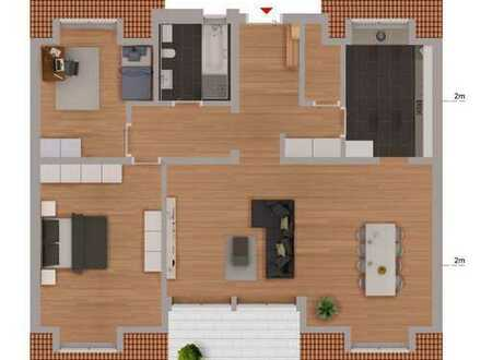 Erstbezug: entspannt Wohnen in top moderner 3-Zimmer Dachgeschoss Wohnung