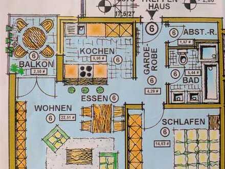 Perfekte Aufteilung auf 56 m² und 2 Zimmer. Barrierefrei!