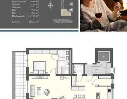 Viel Licht und Raum! Großzügige 2 Zimmer im Penthouse mit luftiger Süd-West-Dachterrasse - Haus A/16