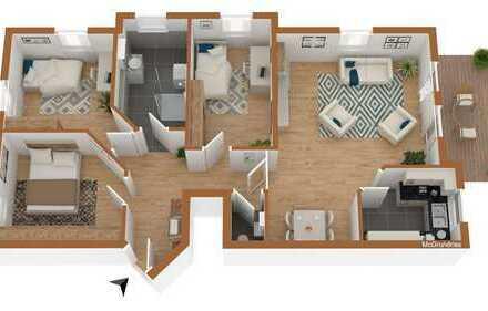 Schöne 4-Zimmer-Wohnung mit sonniger Terrasse. Tageslichtbad & EBK & TG-Stellplatz.