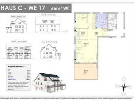 NEUBAU! 66m² OG-Wohnung mit 18m² XXL-Balkon - Provisionsfrei ! (C 17)