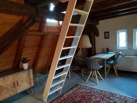 Geschmackvolle DG-Wohnung mit einem Raum und Einbauküche in Ladenburg