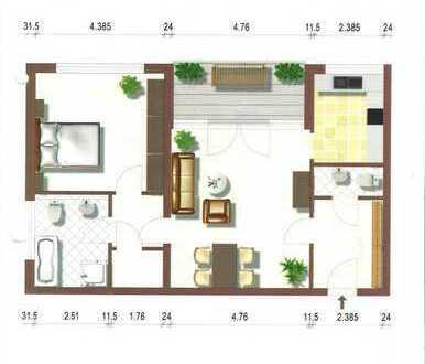 Exklusive, geräumige und neuwertige 2-Zimmer-Hochparterre-Wohnung mit Balkon und EBK am Rhein