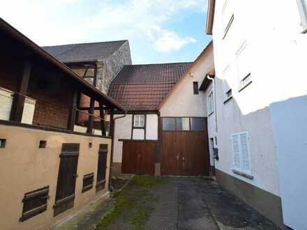 Ältere Hofanlage mit viel Potential, kleinem 1-Fam.-Haus, großer ausbaub. Scheune u. schönem Garten