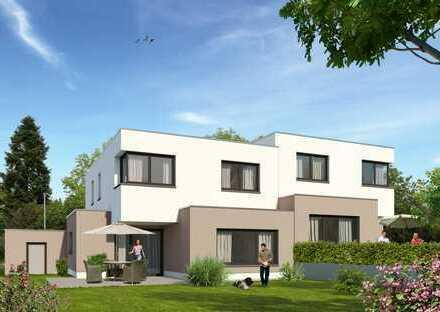 Topmoderne großzügige BAUHAUSSTIL-Doppelhaushälfte im Grünen - hochwertiges Massivhaus mit Garage