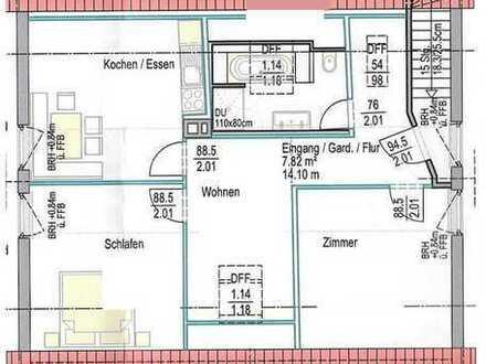 Vollständig renovierte 2-Zimmer-DG-Wohnung mit Einbauküche in Neustadt an der Donau