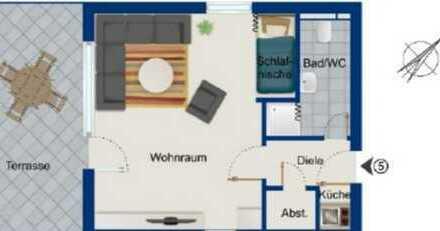 1 Zi. Wohnung in Stg-Sillenbuch mit Terrasse, Keller, Waschraum, Garage und Fahrradabstellplatz